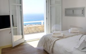 The Artemis Villa bedroom. A luxury villa for rent in Houlakia, Mykonos