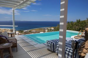 View of the Aegean sea as seen from the private pool of the Leto Luxury Villa in Houlakia, Mykonos.