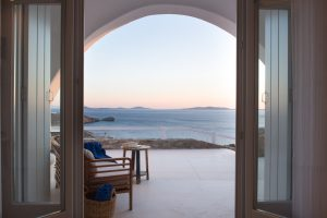 The Leto Luxury Villa in Mykonos has an amazing panoramic view of the Aegean sea.