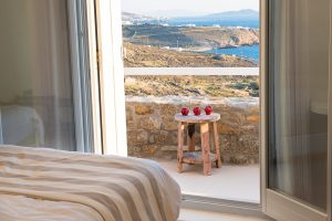 The Leto Luxury Villa in Mykonos 2nd bedroom offers a wonderful view of Mykonos island and the sea.