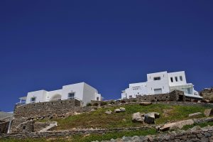 Far away view of the Sunset Collection villas of the San Marco Mykonos hotel in Houlakia, Mykonos.