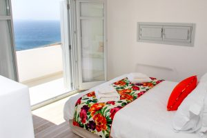 The Artemis Luxury Villa in Mykonos 2nd bedroom offers a wonderful view of Mykonos island & the sea