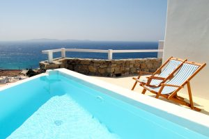Sea view of the Aegean sea as seen from the private pool of the Artemis Luxury Villa in Houlakia.