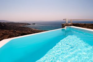Panoramic sea view of the Aegean as seen from the private pool of the Artemis Luxury Villa.