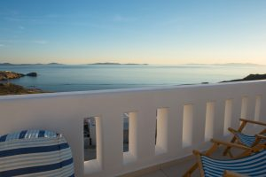 View of the Aegean sea from the Asteria Luxury Villa in Houlakia, Mykonos private balcony.