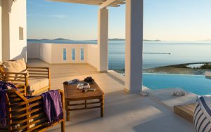 Τhe Asteria Luxury Villa in Mykonos, offers a splendid, panoramic view of the Aegean sea.