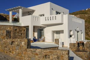 The Hera Luxury open plan Villa exterior, located in Houlakia, Mykonos.