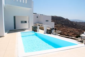 The Hera Luxury Villa private swimming pool is ideal for relaxing moments under the hot Greek sun.