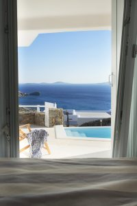 The first thing you will witness when you wake up in the morning is the view of the Aegean sea.