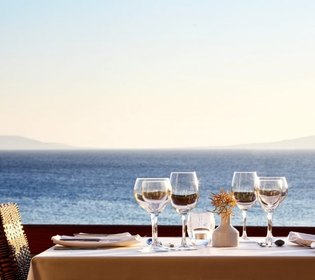 View of the Aegean sea as seen from the Veranda Restaurant of the San Marco Mykonos Hotel.