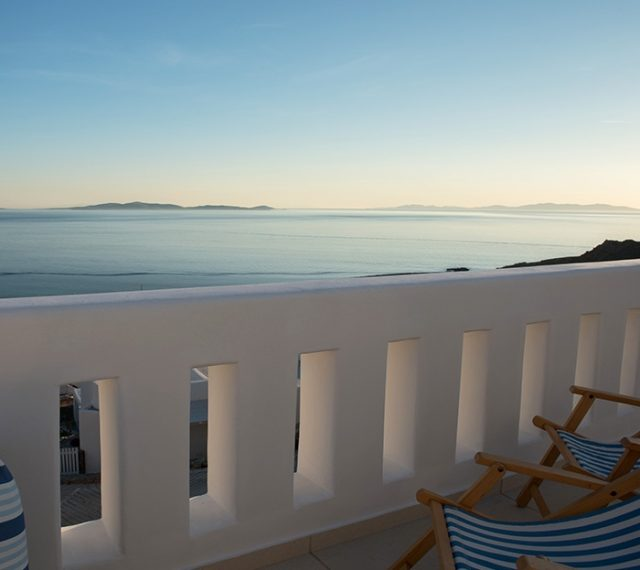 Amazing view of the Aegean Sea as seen from the San Marco Luxury Villas in Houlakia, Mykonos.